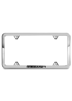 License plate frame with quattro logo - polished Thumbnail
