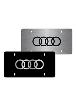Laser-etched Audi Rings vanity plate Thumbnail