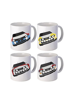 Rally Car Ceramic Mug Set of 4 Thumbnail