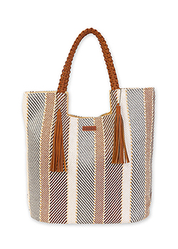 Polystraw Stripe Shoulder Tote Thumbnail